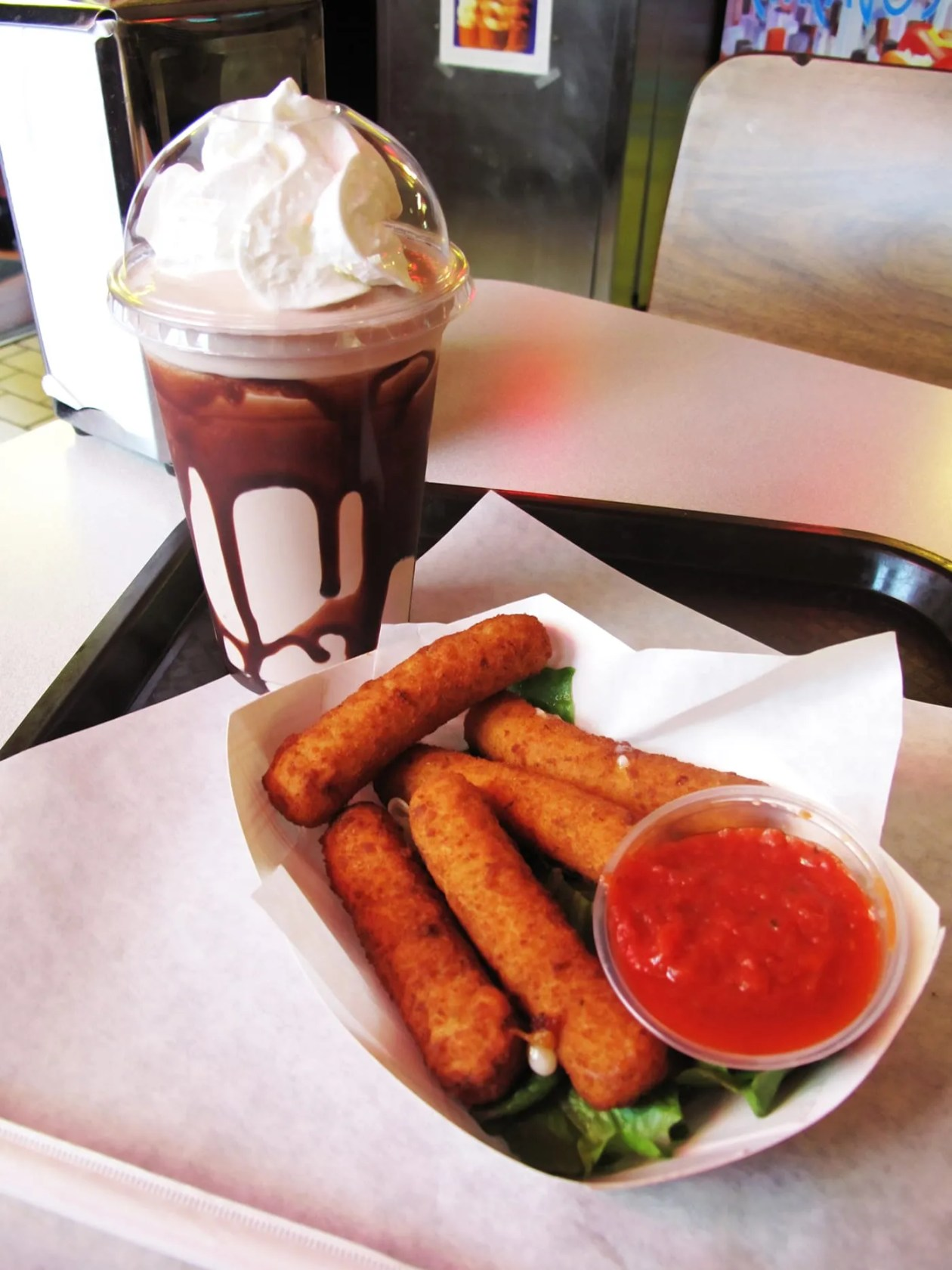 Cheese sticks and a milkshake at Bunny Hutch Novelty Golf in Lincolnwood, Illinois.