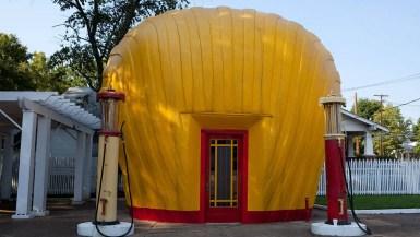 Shell-shaped gas station in Winston-Salem, North Carolina