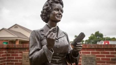 Bronze Lois Lane Statue in Metropolis, Illinois