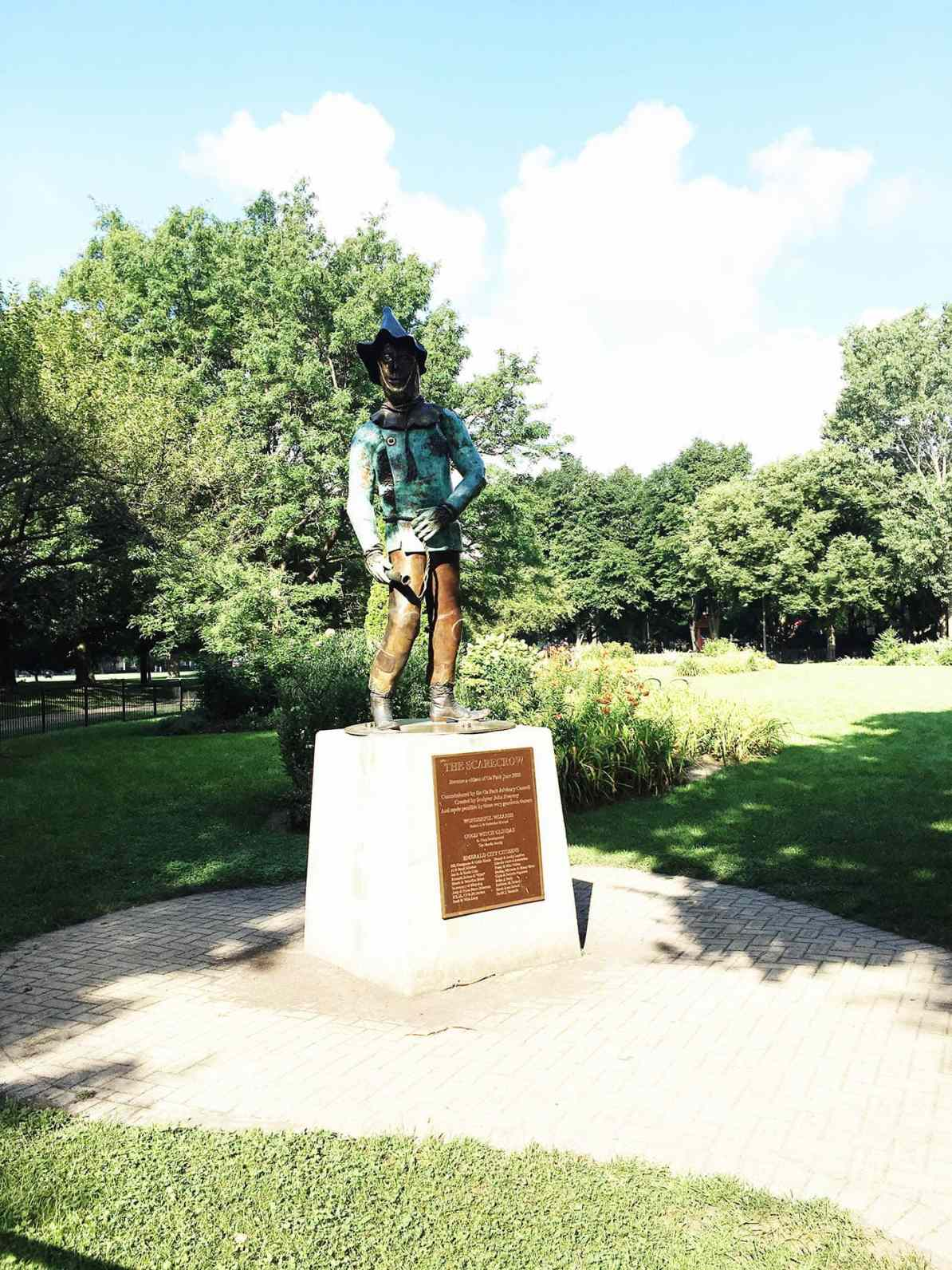 The Scarecrow statue at Oz Park in Chicago, Illinois - a Wizard of Oz themed Park.
