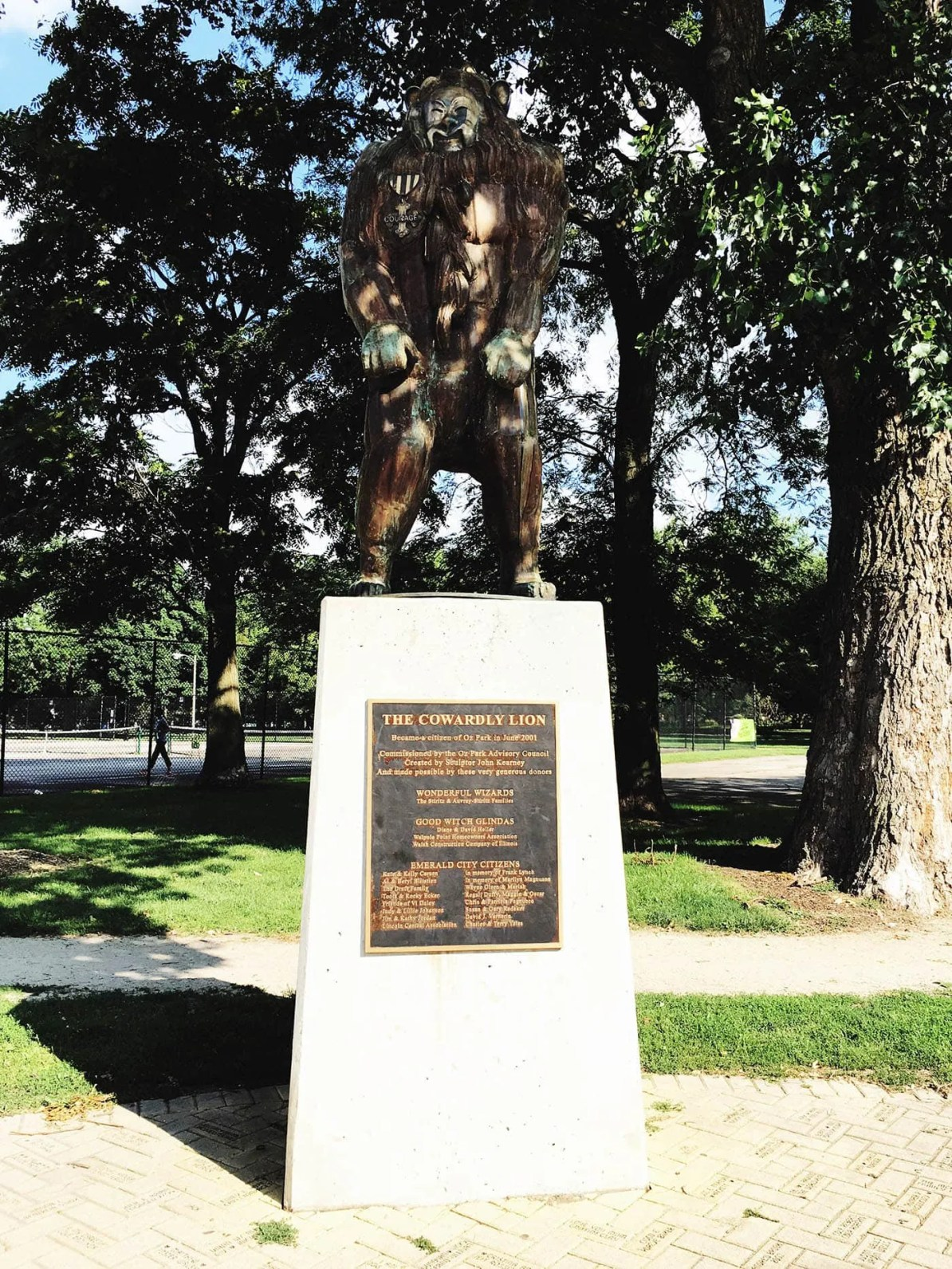 The Cowardly Lion  statue at Oz Park in Chicago, Illinois - a Wizard of Oz themed Park.