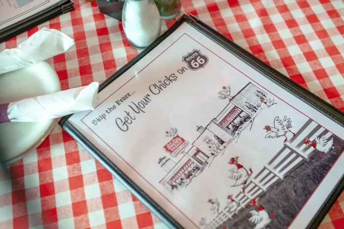 Get your Chicks on Route 66 - Menu at Dell Rhea's Chicken Basket on Route 66 in Illinois.