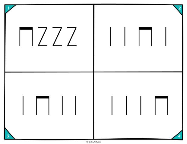 4 square rhythms ta, tit, z STICK-03