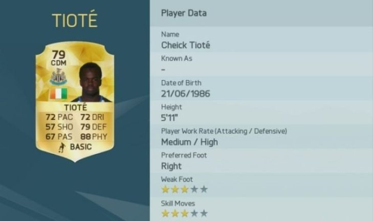 Tiote is one of the Top 10 Physical Players in FIFA 16