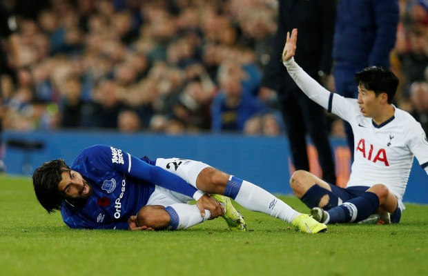Everton's Andre Gomes suffered ankle fracture dislocation against Tottenham