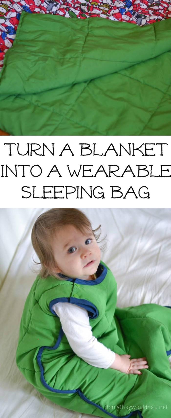 Turn a blanket into a wearable sleeping bag