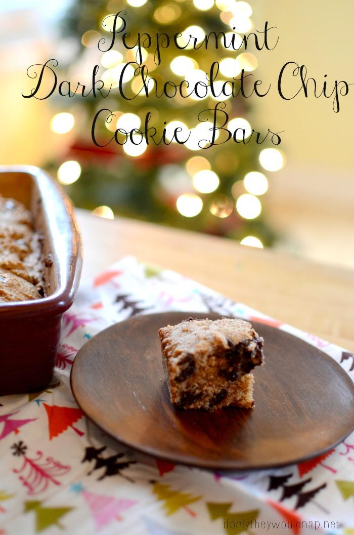 Peppermint Dark Chocolate Chip Cookie Bars