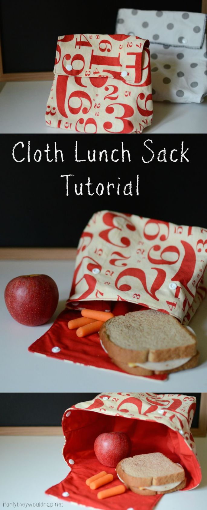Cloth Lunch Sack Tutorial from If Only They Would Nap