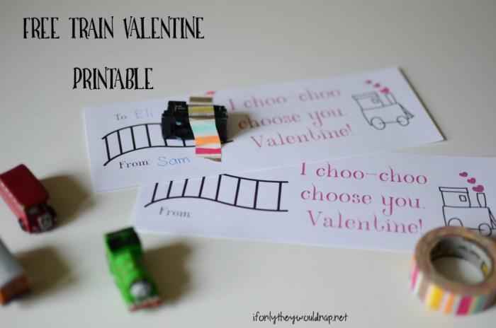 free train valentine printable