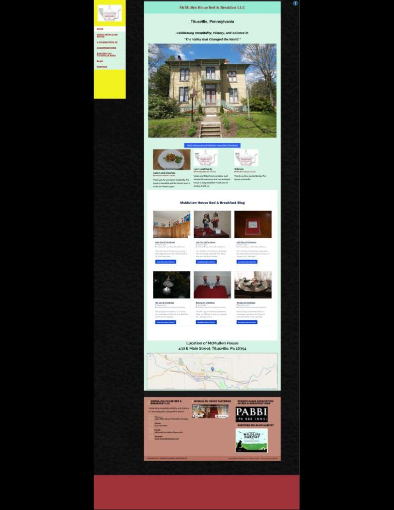 Example websites, McMullen House Bed & Breakfast
