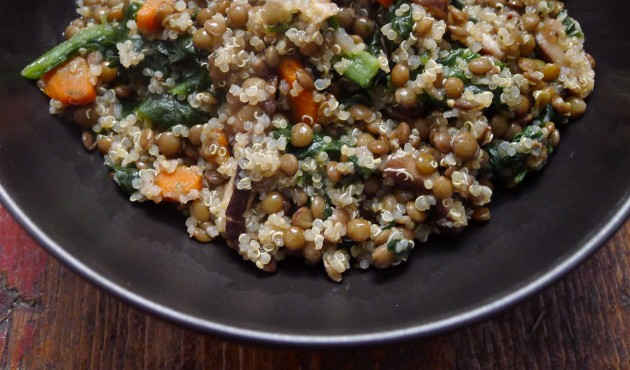Vegetarian Lentils and Quinoa with Mushrooms and Spinach