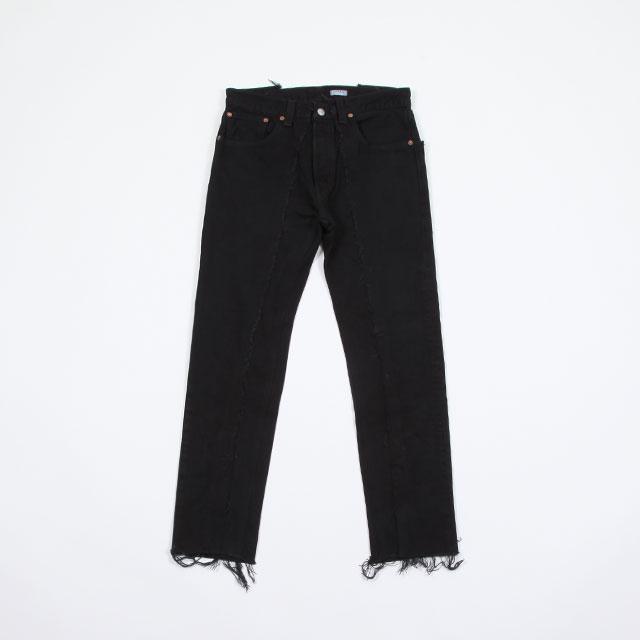 OLD PARK SLIM FLARE JEANS BLACK size:L [OP-291]