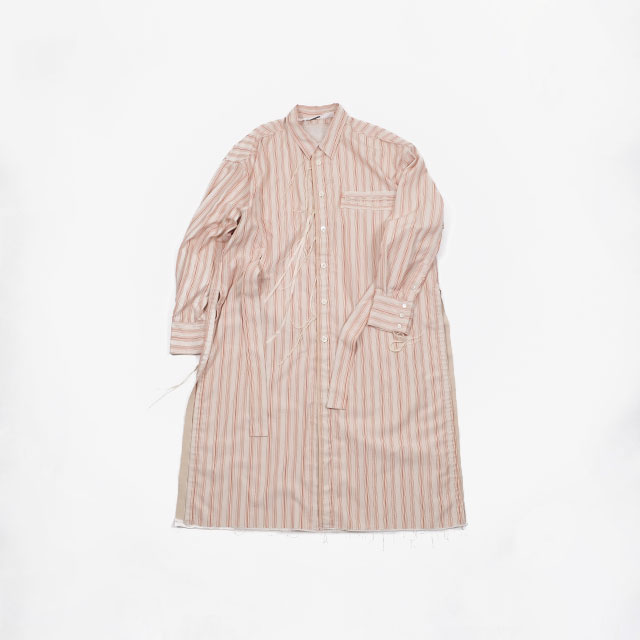 Midorikawa LONG SHIRT – STRIPE BEIGE/ORANGE [MID19AW-SH05B]