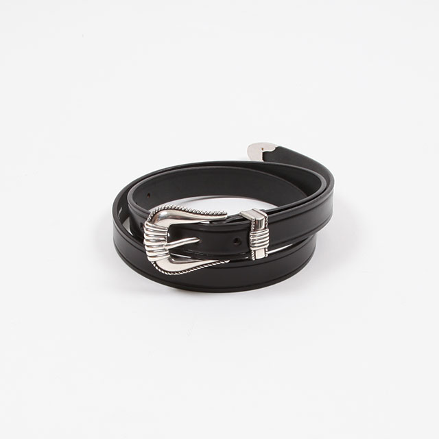 MONITALY Extended 1″ Creased Belt with 3-pc Silver Buckle Set Black [M26905]