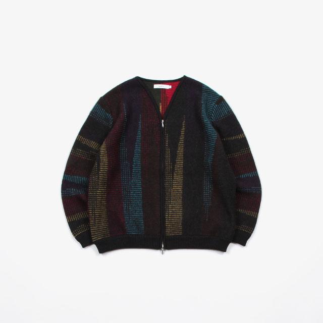 SUBTLE authentic Geometric Pattern Knit Zip Up Cardigan [SUBTLE-002K]