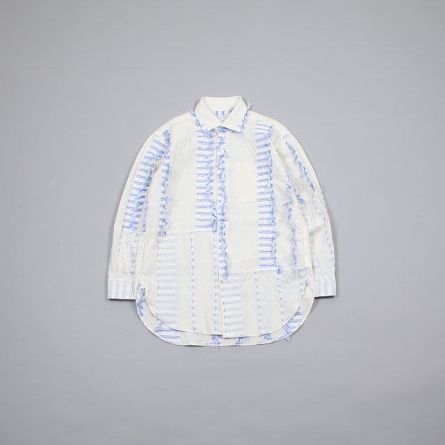 Engineered Garments Spread Collar Shirt – Dobby Tassel Natural/Blue [GH184]