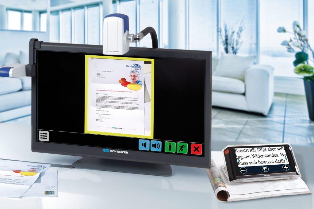 Bildschirmlesegeräte bieten mehr Funktionen und können ganze Seiten abbilden. Dafür sind elektronische Lupen auch unterwegs überall einsetzbar - Digitale Sehhilfen