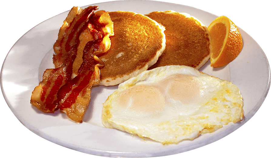 Silver dollar pancake breakfast, served with bacon and eggs. A special at the Ranch House restaurant