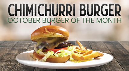 Ranch House's October Burger of the Month, the Chimichurri Burger
