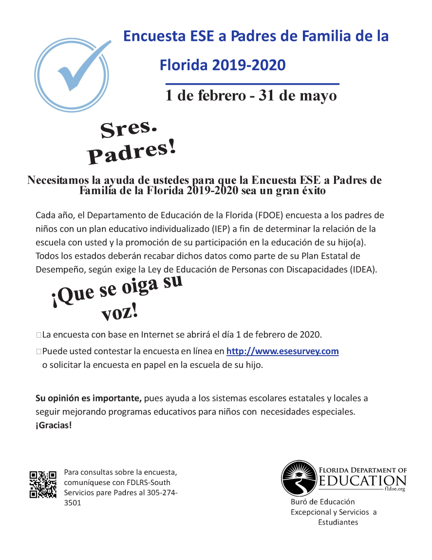 19-20 ESE Parent Survey Flyers - Spanish