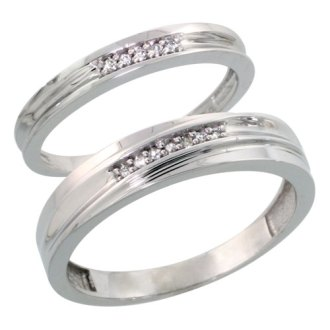 Sterling Silver Jewelry Diamond Rings His   Hers Bands Sterling Silver Diamond Wedding Rings Set for him 5 mm and her 3 mm 2