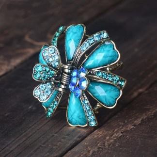Blue Ribbon Flower Hair Claw Metal Main