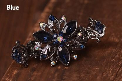 Dark Blue Trillium Black Metal Hair Clip Claw