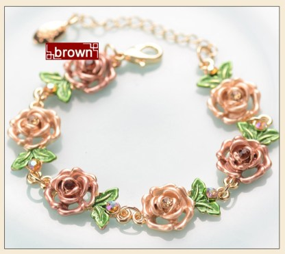 Brown Painted Flower Metal Braclet Chain