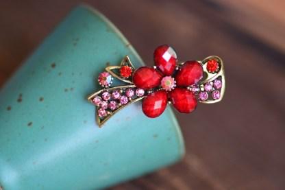 Red Metal Mini Hair Clip five Petal with Ribbon