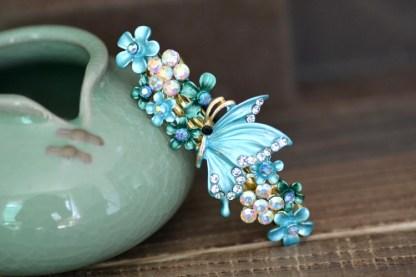 Blue Painted Butterfly Barrette Metal