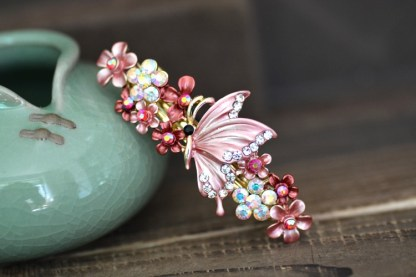 Pink Painted Butterfly Barrette Metal