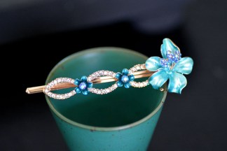 Blue Luau Flower Painted Metal Bobby Pin