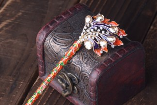 Orange Enameled Cloisonne Hair Pin