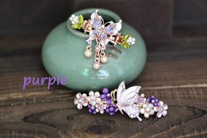 Purple Butterfly Hair Clip and Barrette Set.