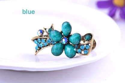 Blue Metal Mini Hair Clip five Petal with Ribbon