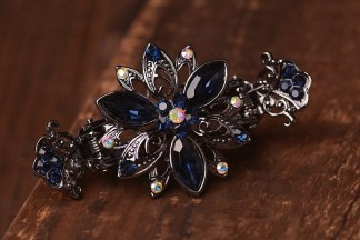 Purple Trillium Black Metal Hair Clip Claw