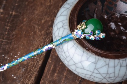 Blue and Green Enameled Hairpin Resin Drop