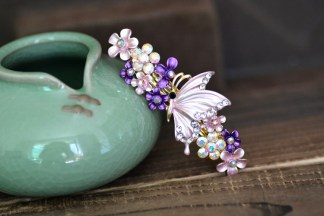 Purple Painted Butterfly Barrette Metal