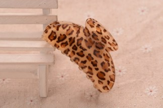 Brown Leopard Pattern Hair Claw Acrylic