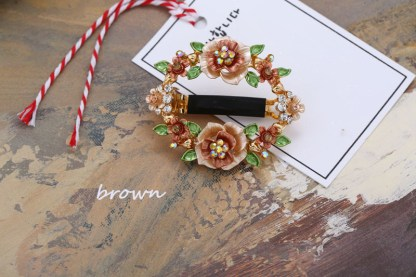 Brown Painted Brown Flower Open Center Hair Barrette