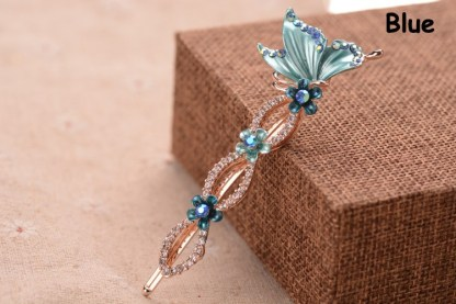 Blue Painted Butterfly Bobby Pin