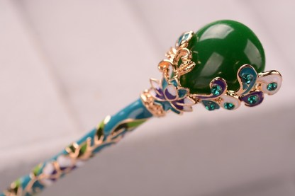 Detail Blue Green Enameled Hairpin Resin Drop