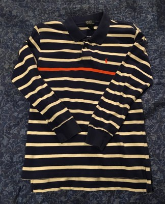 Ralph Lauren Polo Blue White Stripe Single Orage Stripe Long Sleeve Shirt