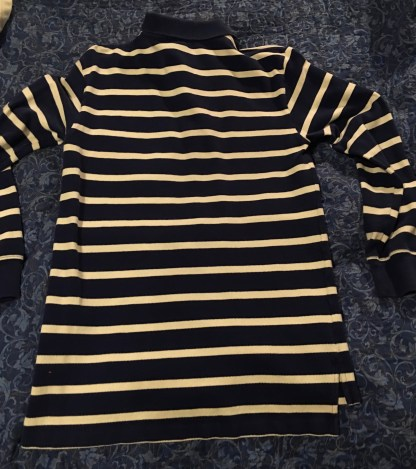 BackRalph Lauren Polo Blue White Stripe Single Orage Stripe Long Sleeve Shirt