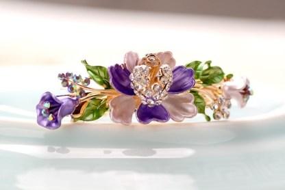Purple Luau Flower Painted Metal Hair Barrette