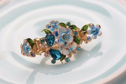 Blue Enameled Painted Flower and Butterfly Hair Claw