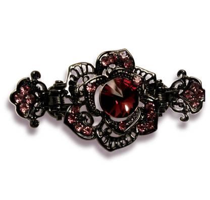 Purple Rose Black Metal Hair Claw Clip