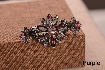 Purple Trillium Black Metal Hair Clip Claw