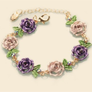 Purple Painted Flower Metal Braclet Chain