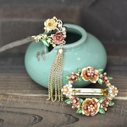 Brown Set Open Center Painted Rose Flowers Hair Barrette and Wooden Hair Pin